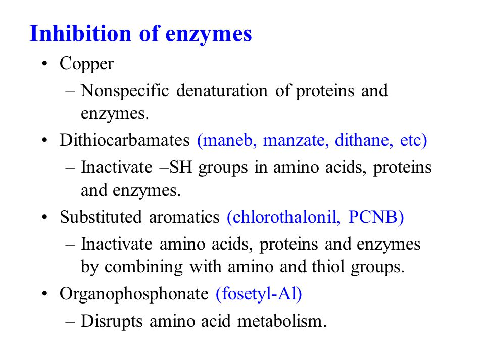 Inhibition of enzymes Copper –Nonspecific denaturation of proteins and enzymes.