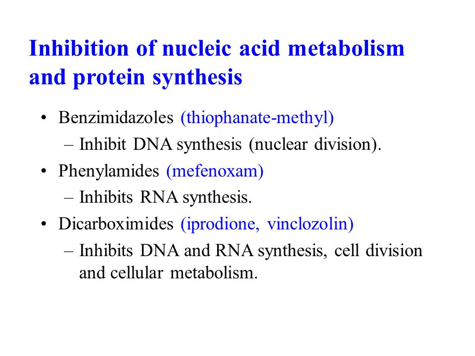 Inhibition of nucleic acid metabolism and protein synthesis Benzimidazoles (thiophanate-methyl) –Inhibit DNA synthesis (nuclear division). Phenylamide