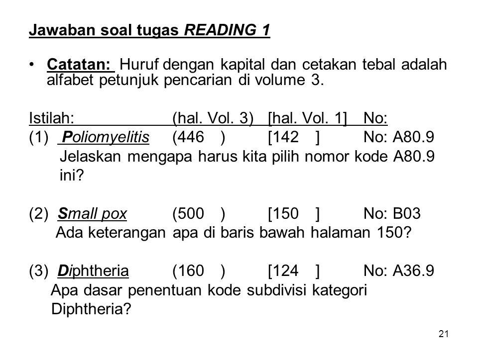 21 Jawaban soal tugas READING 1 Catatan: Huruf dengan kapital dan cetakan tebal adalah alfabet petunjuk pencarian di volume 3.