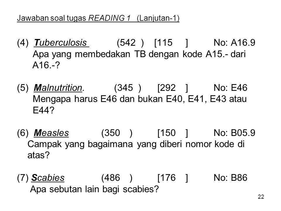 22 Jawaban soal tugas READING 1 (Lanjutan-1) (4) Tuberculosis (542 ) [115]No: A16.9 Apa yang membedakan TB dengan kode A15.- dari A16.-.