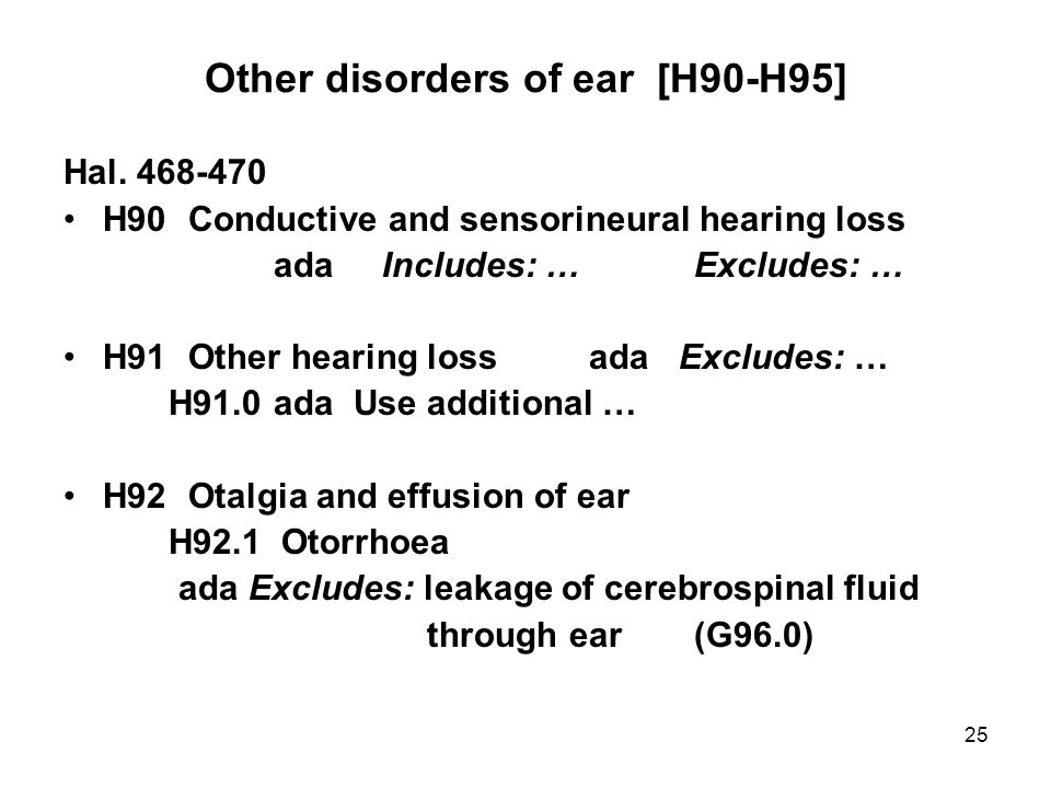 25 Other disorders of ear [H90-H95] Hal.