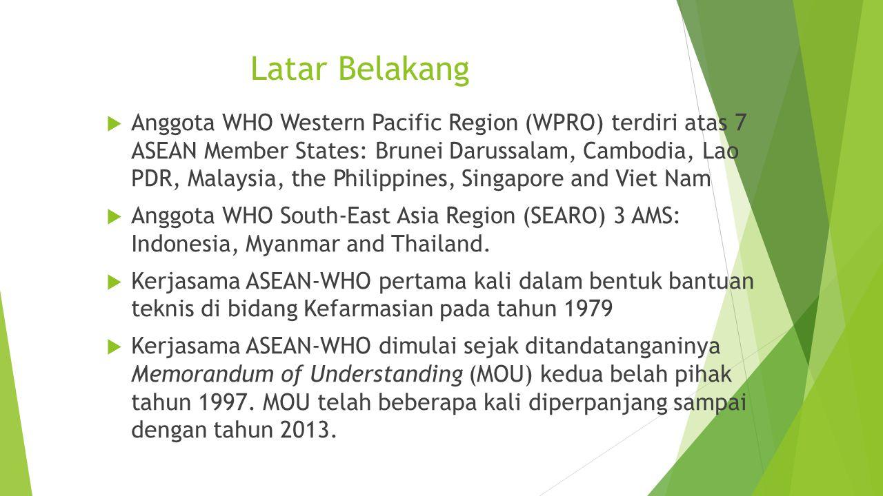 Latar Belakang  Anggota WHO Western Pacific Region (WPRO) terdiri atas 7 ASEAN Member States: Brunei Darussalam, Cambodia, Lao PDR, Malaysia, the Phi