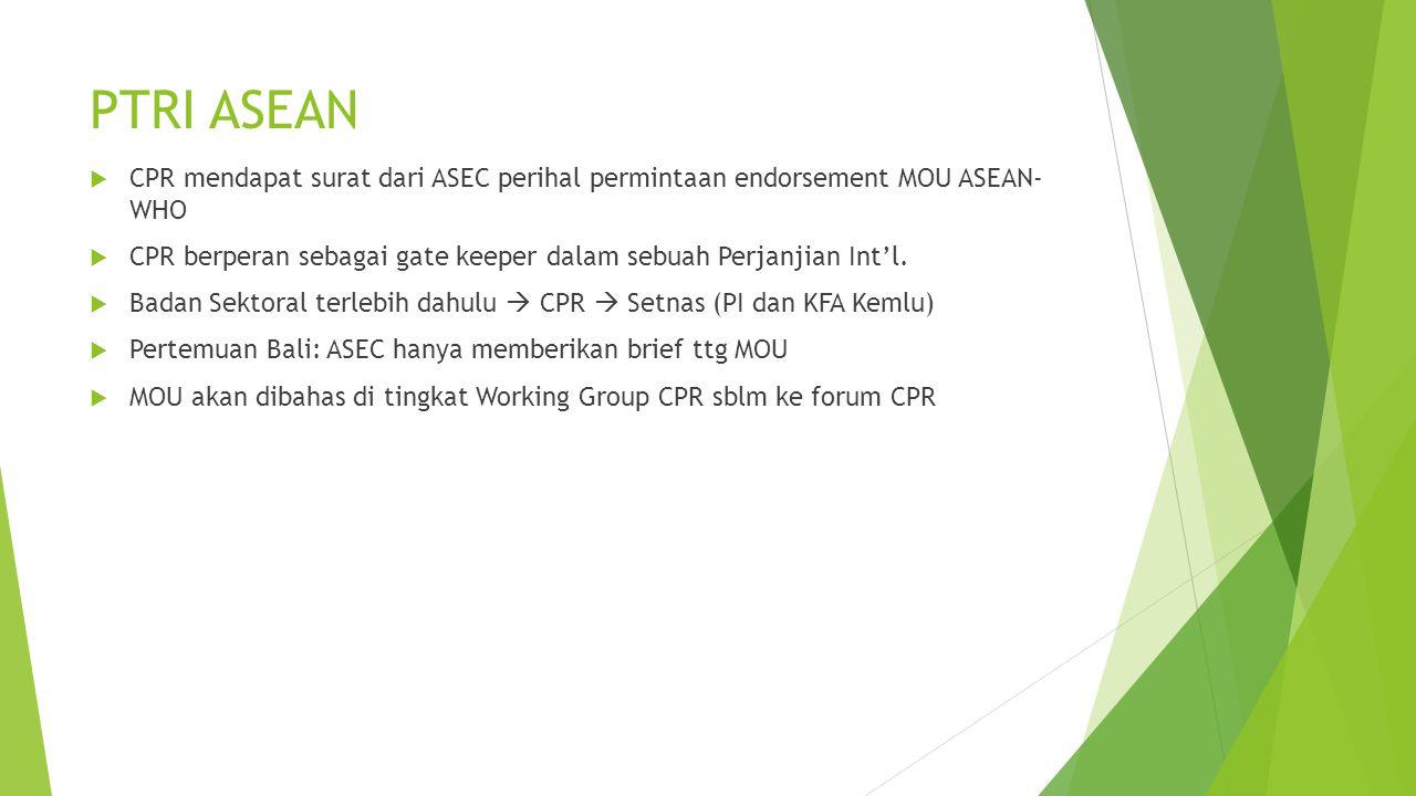PTRI ASEAN  CPR mendapat surat dari ASEC perihal permintaan endorsement MOU ASEAN- WHO  CPR berperan sebagai gate keeper dalam sebuah Perjanjian Int