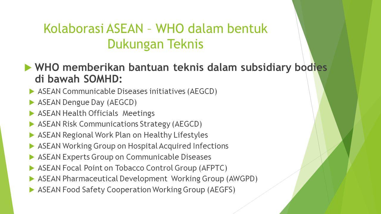 Kolaborasi ASEAN – WHO dalam bentuk Dukungan Teknis  WHO memberikan bantuan teknis dalam subsidiary bodies di bawah SOMHD:  ASEAN Communicable Disea