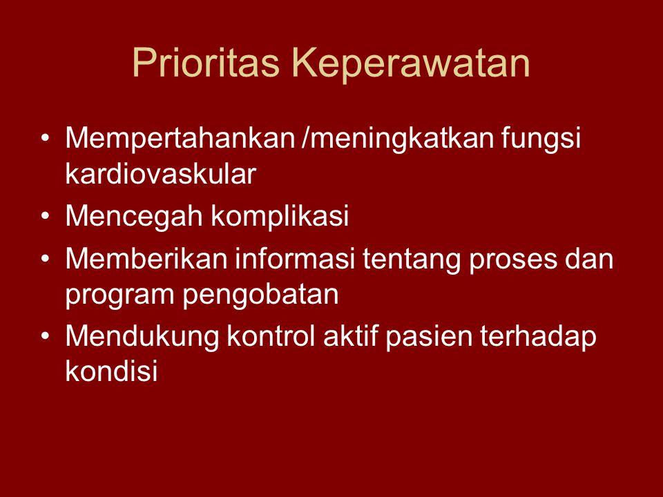 Prioritas Keperawatan Mempertahankan /meningkatkan fungsi kardiovaskular Mencegah komplikasi Memberikan informasi tentang proses dan program pengobatan Mendukung kontrol aktif pasien terhadap kondisi