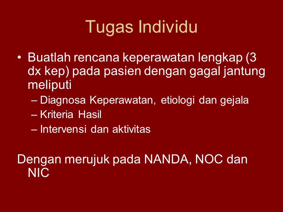 Tugas Individu Buatlah rencana keperawatan lengkap (3 dx kep) pada pasien dengan gagal jantung meliputi –Diagnosa Keperawatan, etiologi dan gejala –Kriteria Hasil –Intervensi dan aktivitas Dengan merujuk pada NANDA, NOC dan NIC