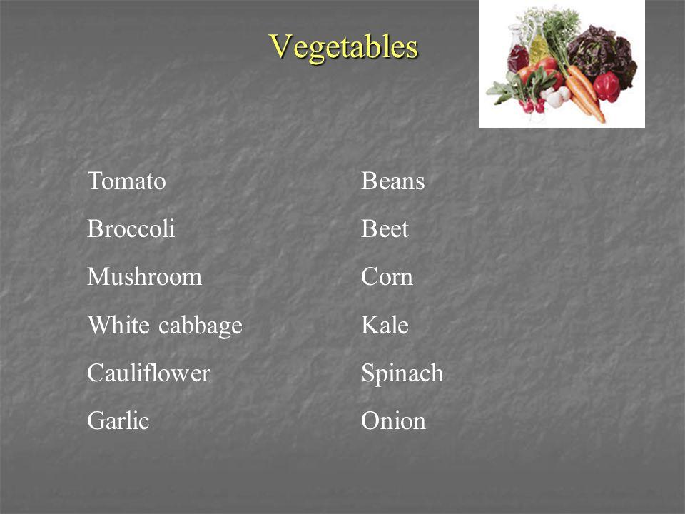 Vegetables Tomato Beans BroccoliBeet MushroomCorn White cabbageKale CauliflowerSpinach GarlicOnion