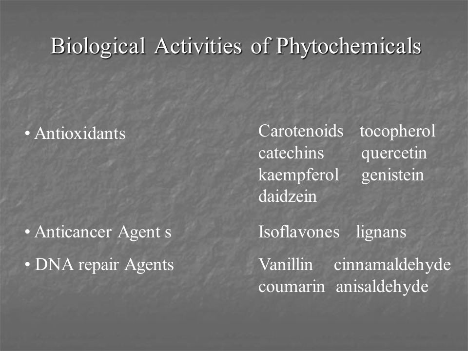 Biological Activities of Phytochemicals Antioxidants Anticancer AgentsIsoflavones lignans DNA repair AgentsVanillin cinnamaldehyde coumarin anisaldehy