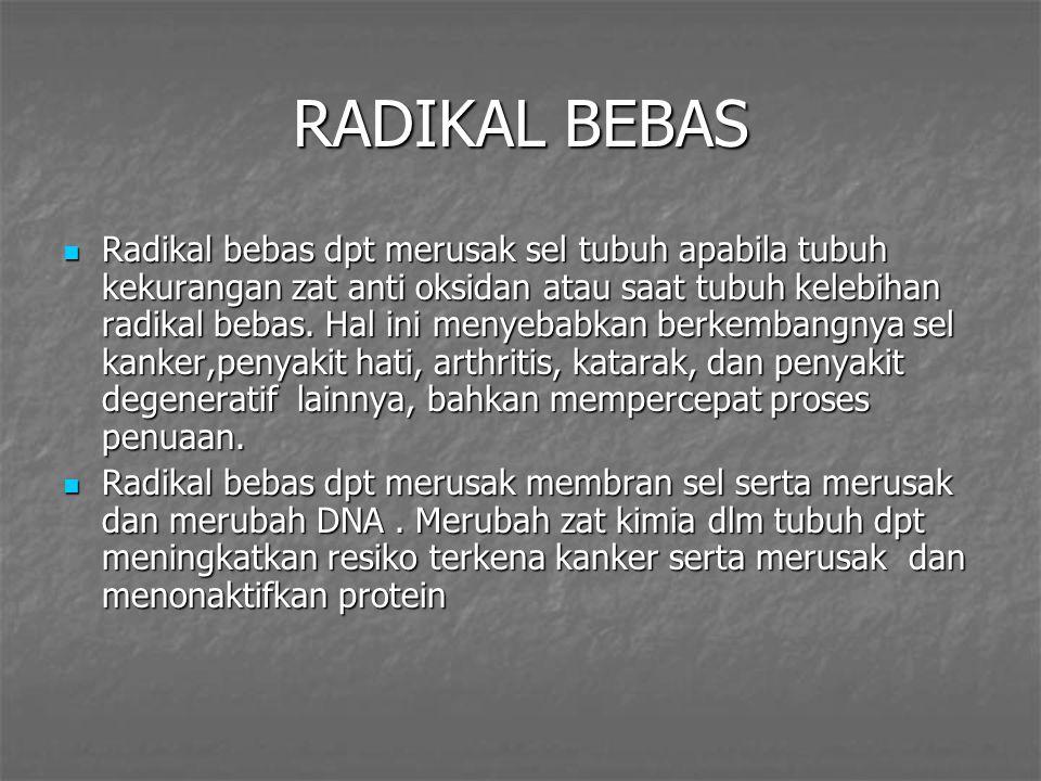 RADIKAL BEBAS Radikal bebas dpt merusak sel tubuh apabila tubuh kekurangan zat anti oksidan atau saat tubuh kelebihan radikal bebas.