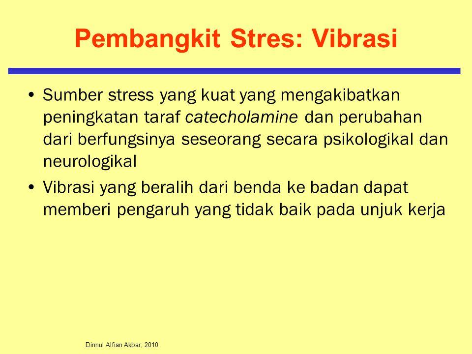 Dinnul Alfian Akbar, 2010 Pembangkit Stres: Vibrasi Sumber stress yang kuat yang mengakibatkan peningkatan taraf catecholamine dan perubahan dari berf