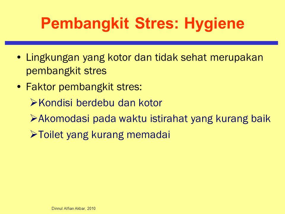 Dinnul Alfian Akbar, 2010 Pembangkit Stres: Hygiene Lingkungan yang kotor dan tidak sehat merupakan pembangkit stres Faktor pembangkit stres:  Kondis