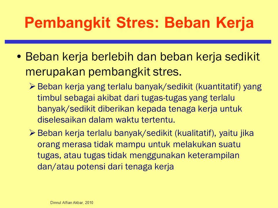 Dinnul Alfian Akbar, 2010 Pembangkit Stres: Beban Kerja Beban kerja berlebih dan beban kerja sedikit merupakan pembangkit stres.  Beban kerja yang te