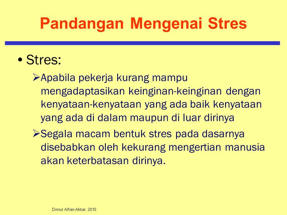 Dinnul Alfian Akbar, 2010 Pandangan Mengenai Stres Stres:  Apabila pekerja kurang mampu mengadaptasikan keinginan-keinginan dengan kenyataan-kenyataa