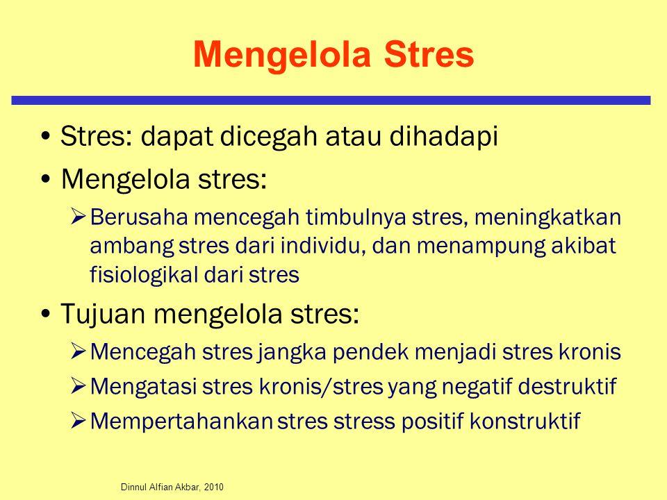 Dinnul Alfian Akbar, 2010 Mengelola Stres Stres: dapat dicegah atau dihadapi Mengelola stres:  Berusaha mencegah timbulnya stres, meningkatkan ambang