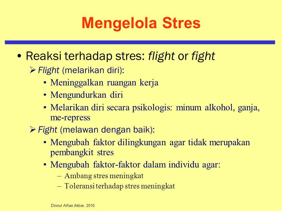Dinnul Alfian Akbar, 2010 Mengelola Stres Reaksi terhadap stres: flight or fight  Flight (melarikan diri): Meninggalkan ruangan kerja Mengundurkan di