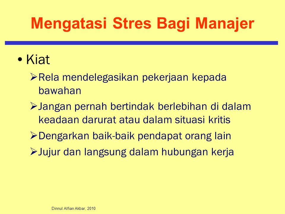 Dinnul Alfian Akbar, 2010 Mengatasi Stres Bagi Manajer Kiat  Rela mendelegasikan pekerjaan kepada bawahan  Jangan pernah bertindak berlebihan di dal