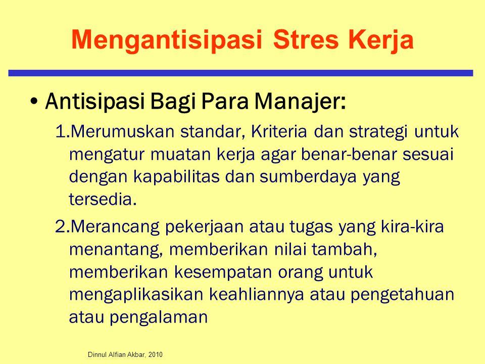 Dinnul Alfian Akbar, 2010 Mengantisipasi Stres Kerja Antisipasi Bagi Para Manajer: 1.Merumuskan standar, Kriteria dan strategi untuk mengatur muatan k