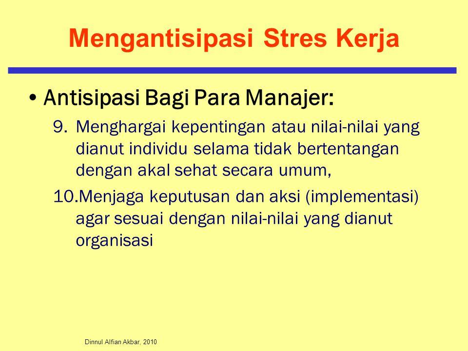 Dinnul Alfian Akbar, 2010 Mengantisipasi Stres Kerja Antisipasi Bagi Para Manajer: 9.Menghargai kepentingan atau nilai-nilai yang dianut individu sela