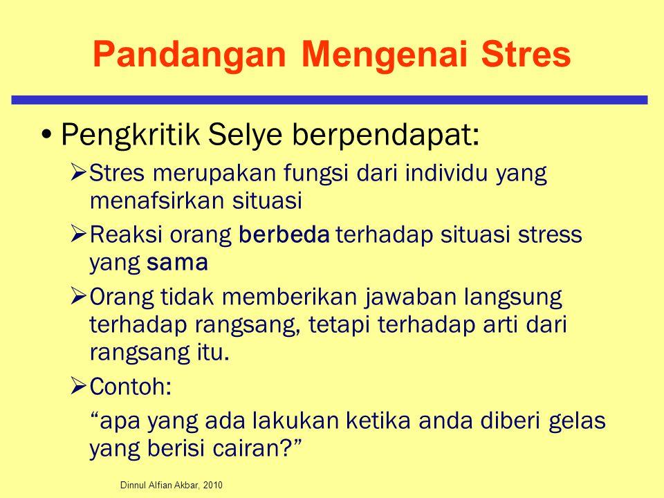 Dinnul Alfian Akbar, 2010 Pandangan Mengenai Stres Pengkritik Selye berpendapat:  Stres merupakan fungsi dari individu yang menafsirkan situasi  Rea