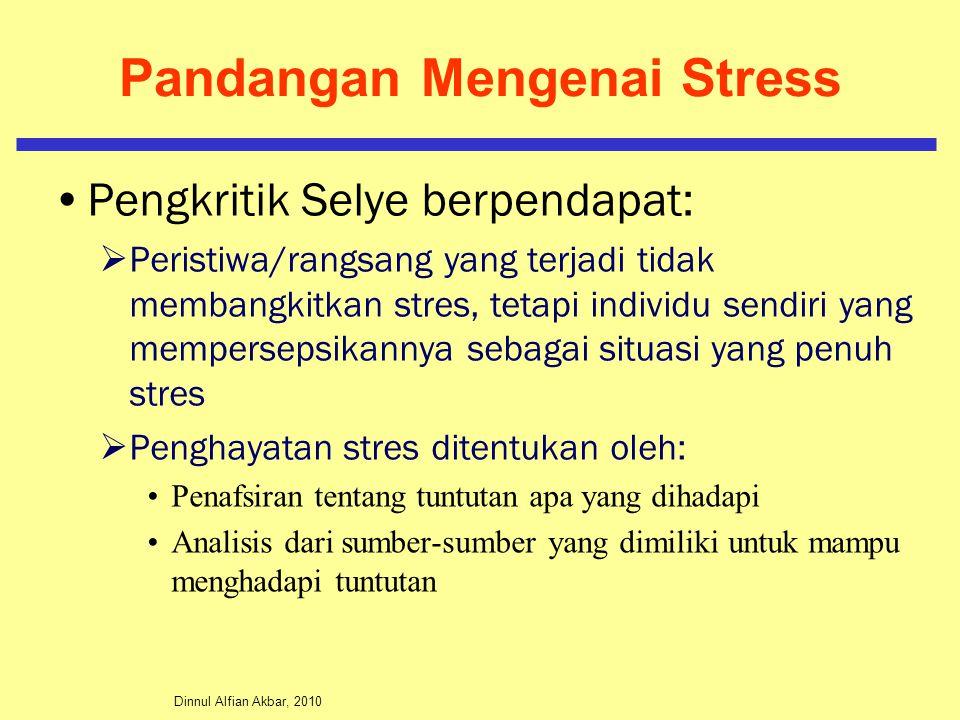 Dinnul Alfian Akbar, 2010 Pandangan Mengenai Stress Pengkritik Selye berpendapat:  Peristiwa/rangsang yang terjadi tidak membangkitkan stres, tetapi