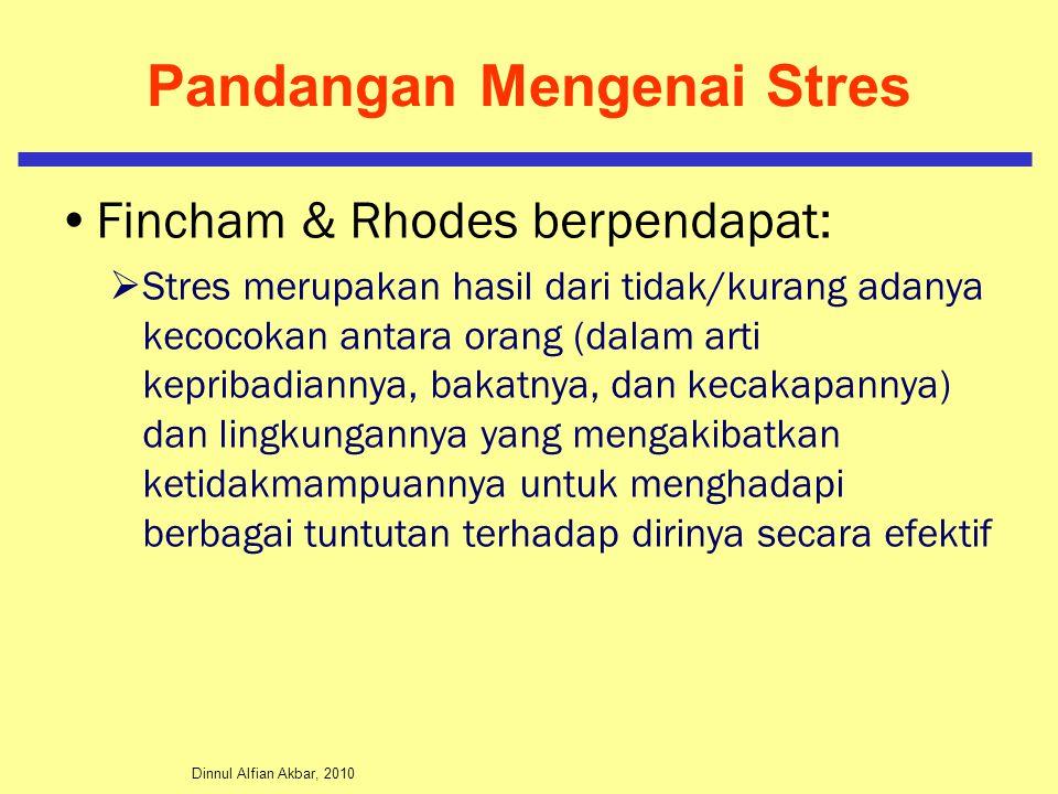 Dinnul Alfian Akbar, 2010 Pandangan Mengenai Stres Fincham & Rhodes berpendapat:  Stres merupakan hasil dari tidak/kurang adanya kecocokan antara ora
