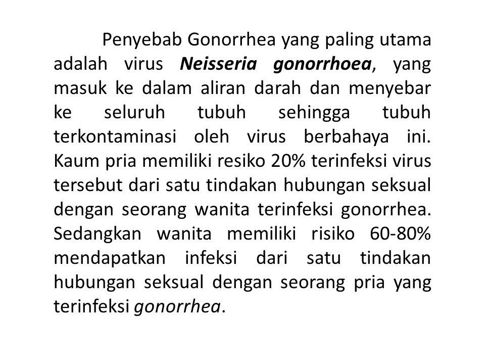 Penyebab Gonorrhea yang paling utama adalah virus Neisseria gonorrhoea, yang masuk ke dalam aliran darah dan menyebar ke seluruh tubuh sehingga tubuh