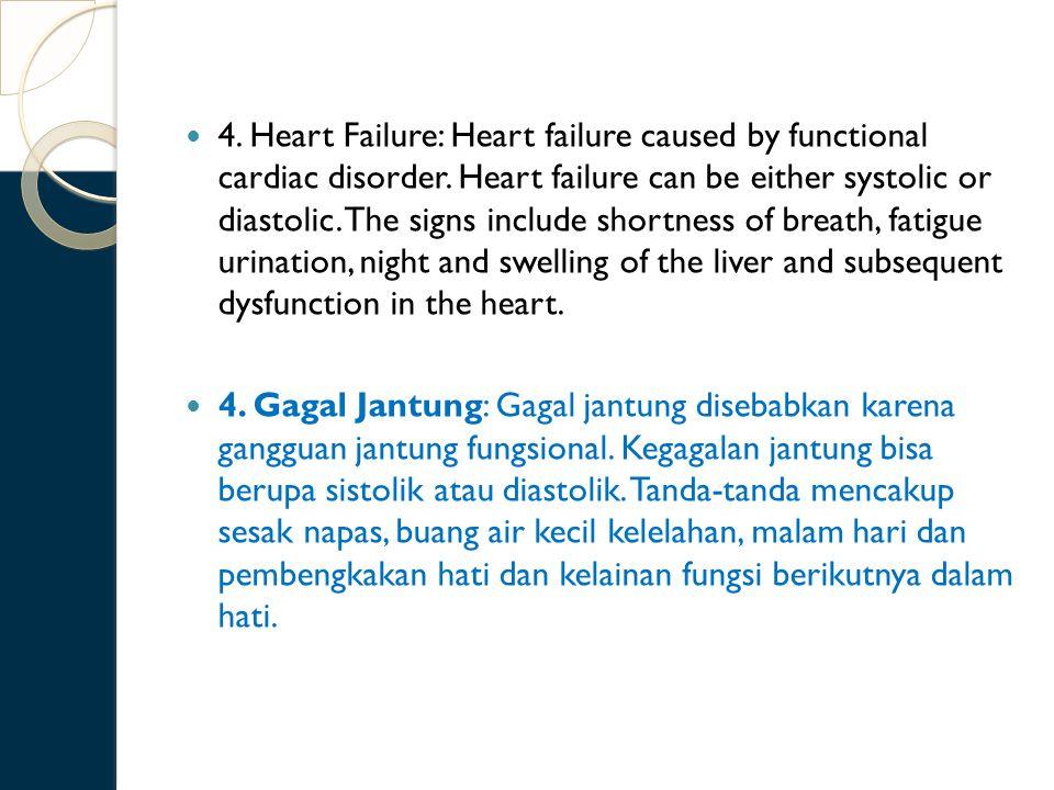 4.Heart Failure: Heart failure caused by functional cardiac disorder.