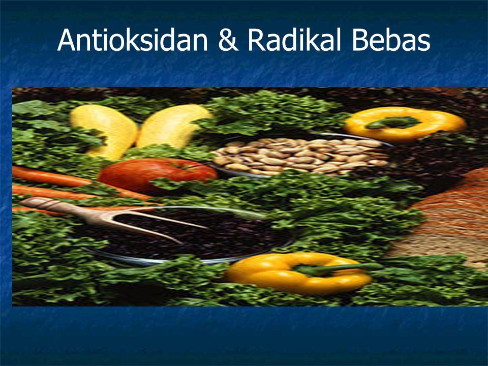 Antioksidan Antioksidan adalah substansi yang diperlukan tubuh menetralisir radikal bebas dan mencegah kerusakan yang ditimbulkan o/ radikal bebas dengan melengkapi kekurangan elektrolit yg dimiliki radikal bebas dan menghambat terjadinya reaksi berantai dari pembentukan radikal bebas yg dpt menimbulkan stres oksidatif
