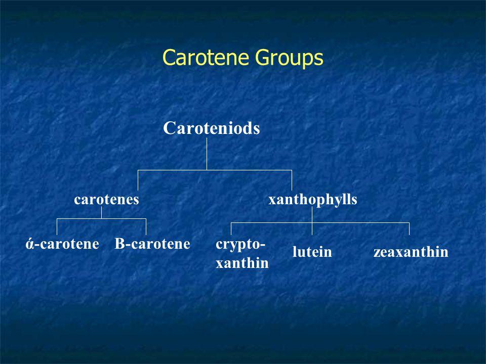 Carotene Groups Caroteniods carotenesxanthophylls ά-caroteneΒ-carotenecrypto- xanthin luteinzeaxanthin