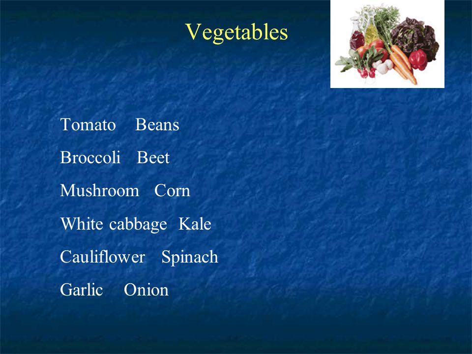 Vegetables Tomato Beans Broccoli Beet Mushroom Corn White cabbage Kale Cauliflower Spinach Garlic Onion