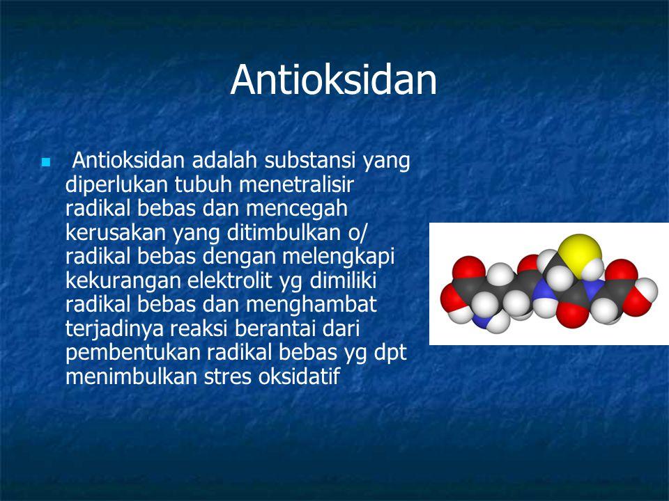 Antioksidan Antioksidan adalah substansi yang diperlukan tubuh menetralisir radikal bebas dan mencegah kerusakan yang ditimbulkan o/ radikal bebas den