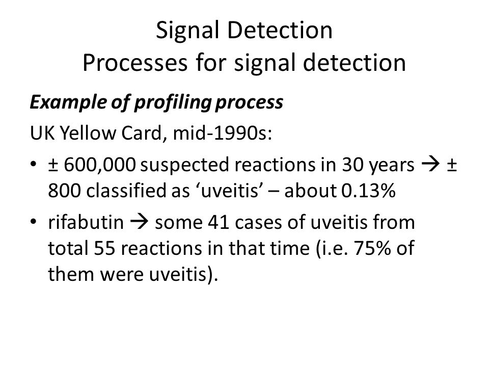 Example of profiling process UK Yellow Card, mid-1990s: ± 600,000 suspected reactions in 30 years  ± 800 classified as 'uveitis' – about 0.13% rifabu