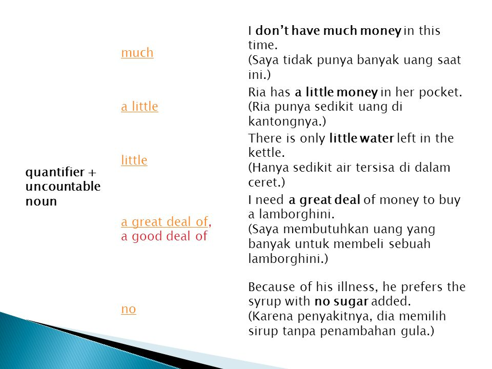quantifier + uncountable noun much I don't have much money in this time. (Saya tidak punya banyak uang saat ini.) a little Ria has a little money in h