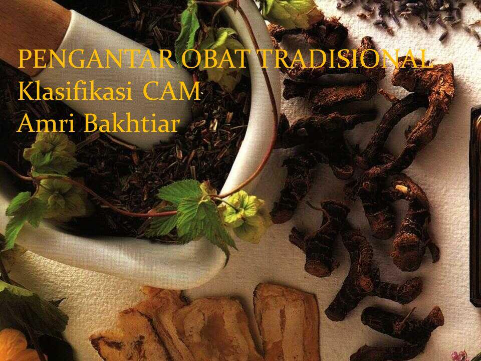 Amri Bakhtiar PENGANTAR OBAT TRADISIONAL Klasifikasi CAM Amri Bakhtiar