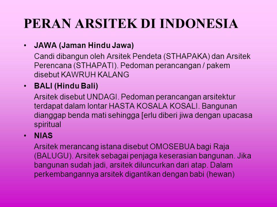 PERAN ARSITEK DI INDONESIA MASA KOLONIAL Dipengaruhi peran arsitetk barat.
