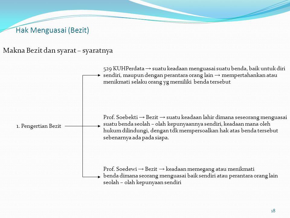 eigendom → menunjukkan hubungan hukum BEDA (hak milik)benda dan pemiliknya bezit → menunjukkan hubungan nyata 3.