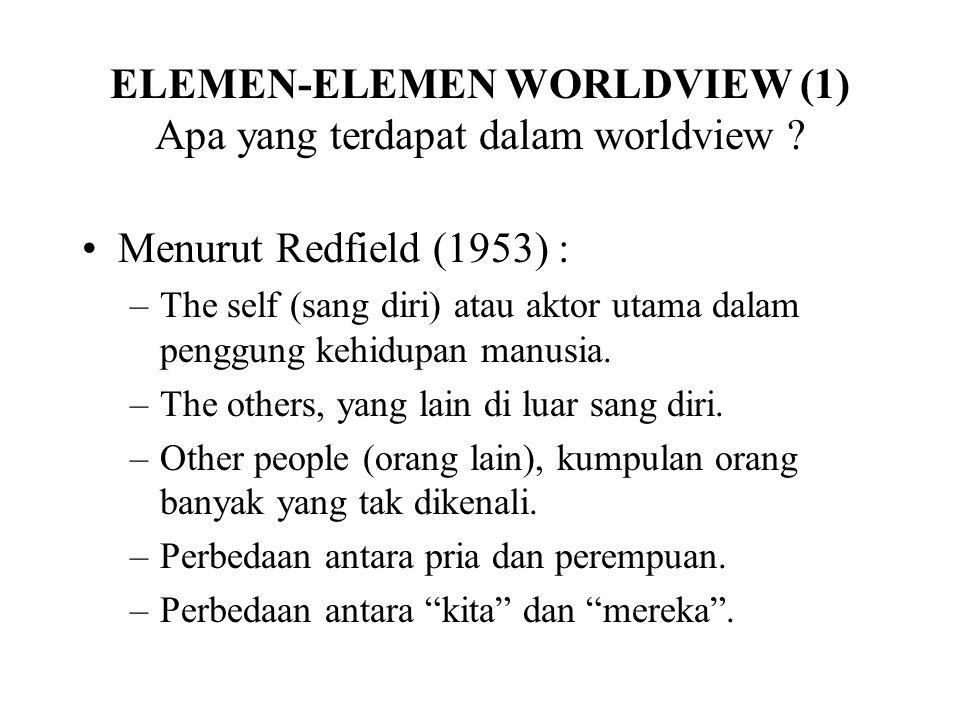 ELEMEN-ELEMEN WORLDVIEW (1) Apa yang terdapat dalam worldview ? Menurut Redfield (1953) : –The self (sang diri) atau aktor utama dalam penggung kehidu