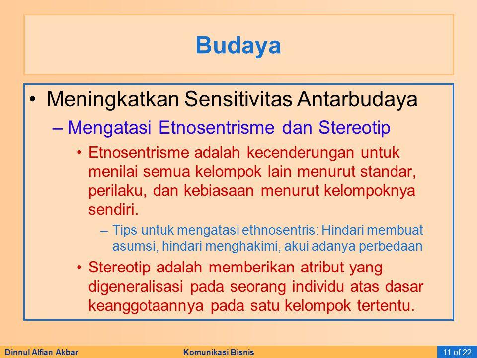 Dinnul Alfian Akbar Komunikasi Bisnis11 of 22 Budaya Meningkatkan Sensitivitas Antarbudaya –Mengatasi Etnosentrisme dan Stereotip Etnosentrisme adalah