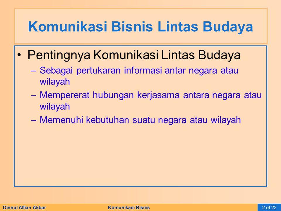 Dinnul Alfian Akbar Komunikasi Bisnis2 of 22 Komunikasi Bisnis Lintas Budaya Pentingnya Komunikasi Lintas Budaya –Sebagai pertukaran informasi antar n