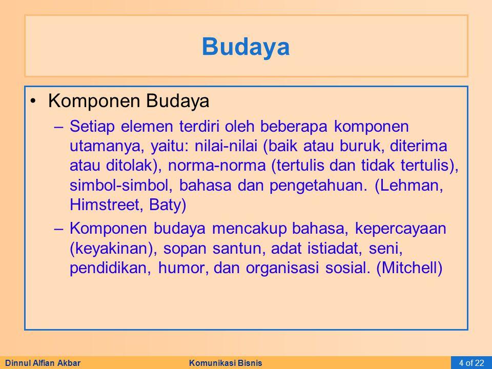 Dinnul Alfian Akbar Komunikasi Bisnis4 of 22 Budaya Komponen Budaya –Setiap elemen terdiri oleh beberapa komponen utamanya, yaitu: nilai-nilai (baik a