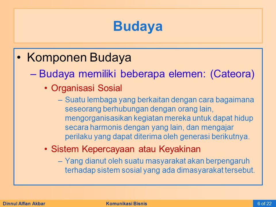 Dinnul Alfian Akbar Komunikasi Bisnis6 of 22 Budaya Komponen Budaya –Budaya memiliki beberapa elemen: (Cateora) Organisasi Sosial –Suatu lembaga yang