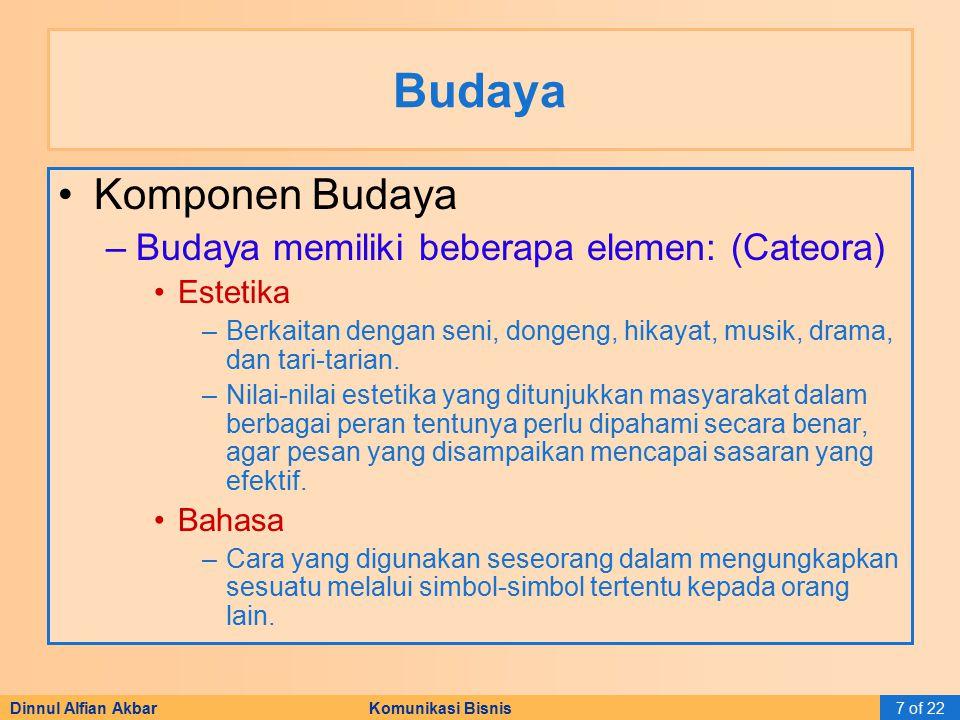 Dinnul Alfian Akbar Komunikasi Bisnis7 of 22 Budaya Komponen Budaya –Budaya memiliki beberapa elemen: (Cateora) Estetika –Berkaitan dengan seni, donge