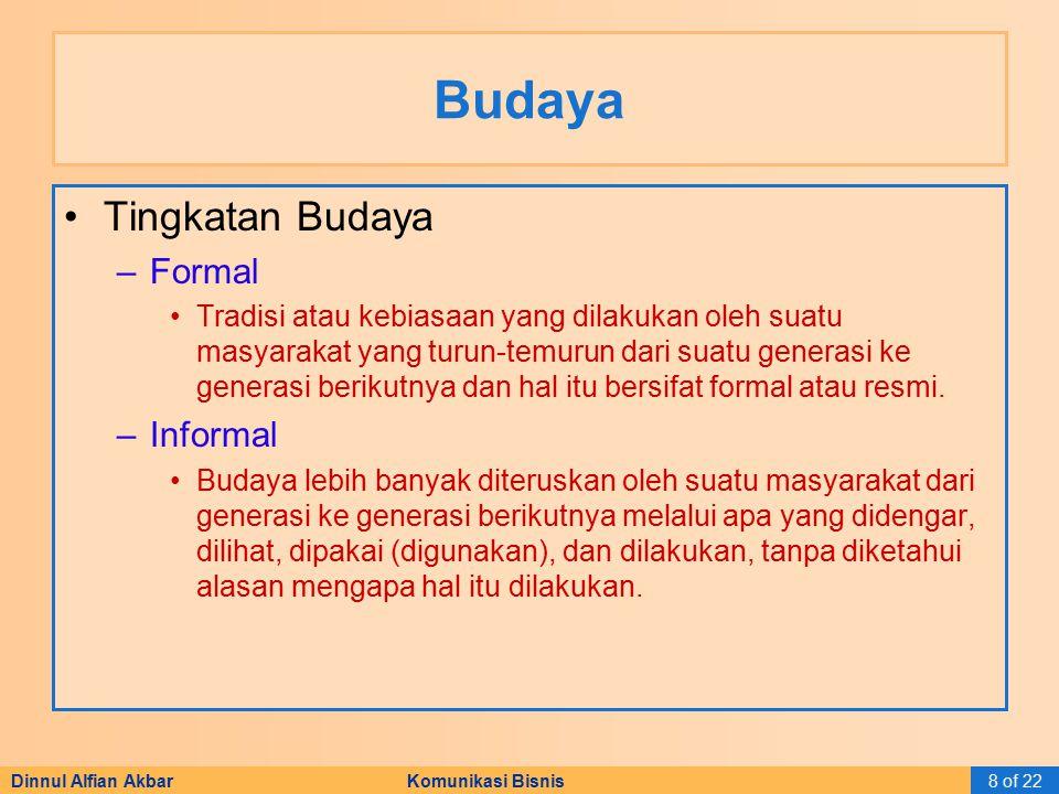 Dinnul Alfian Akbar Komunikasi Bisnis8 of 22 Budaya Tingkatan Budaya –Formal Tradisi atau kebiasaan yang dilakukan oleh suatu masyarakat yang turun-te