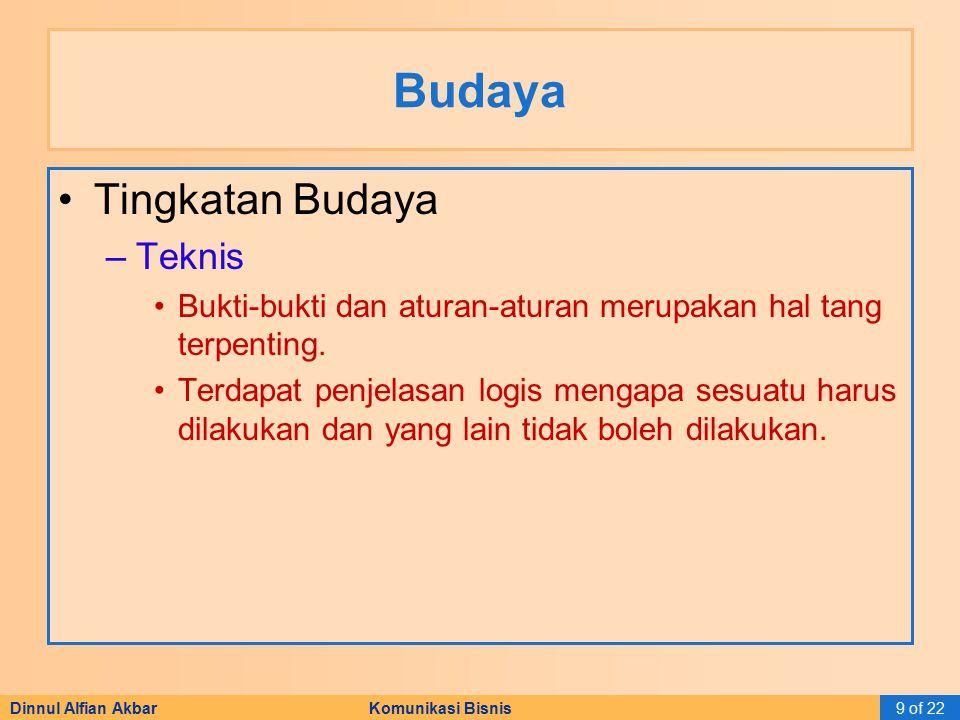 Dinnul Alfian Akbar Komunikasi Bisnis9 of 22 Budaya Tingkatan Budaya –Teknis Bukti-bukti dan aturan-aturan merupakan hal tang terpenting. Terdapat pen