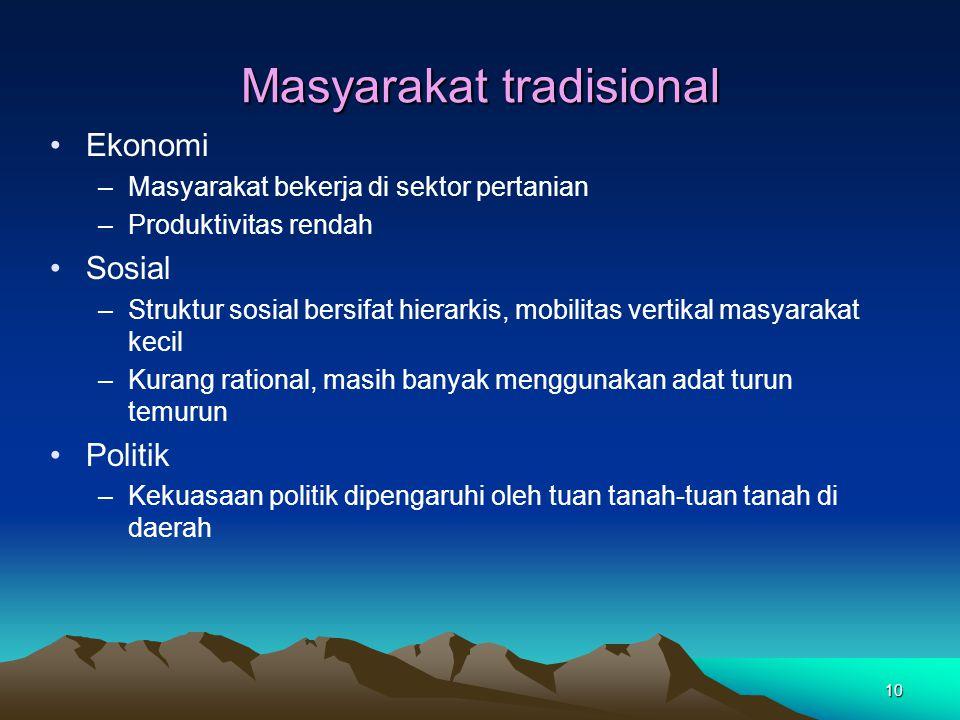 10 Masyarakat tradisional Ekonomi –Masyarakat bekerja di sektor pertanian –Produktivitas rendah Sosial –Struktur sosial bersifat hierarkis, mobilitas