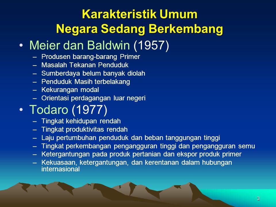 3 Karakteristik Umum Negara Sedang Berkembang Meier dan Baldwin (1957) –Produsen barang-barang Primer –Masalah Tekanan Penduduk –Sumberdaya belum bany
