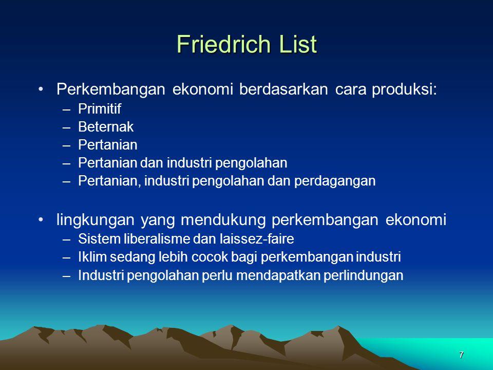 7 Friedrich List Perkembangan ekonomi berdasarkan cara produksi: –Primitif –Beternak –Pertanian –Pertanian dan industri pengolahan –Pertanian, industr