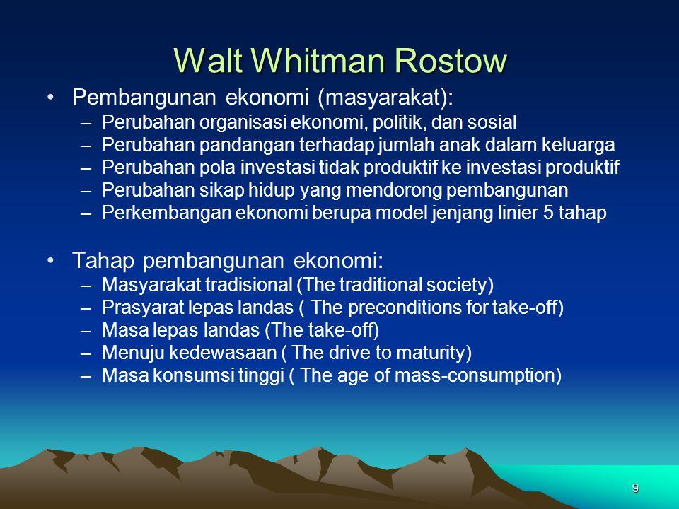9 Walt Whitman Rostow Pembangunan ekonomi (masyarakat): –Perubahan organisasi ekonomi, politik, dan sosial –Perubahan pandangan terhadap jumlah anak d