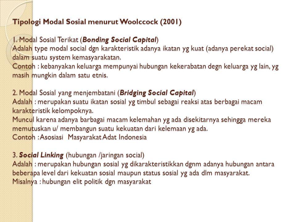 Tipologi Modal Sosial menurut Woolccock (2001) 1.