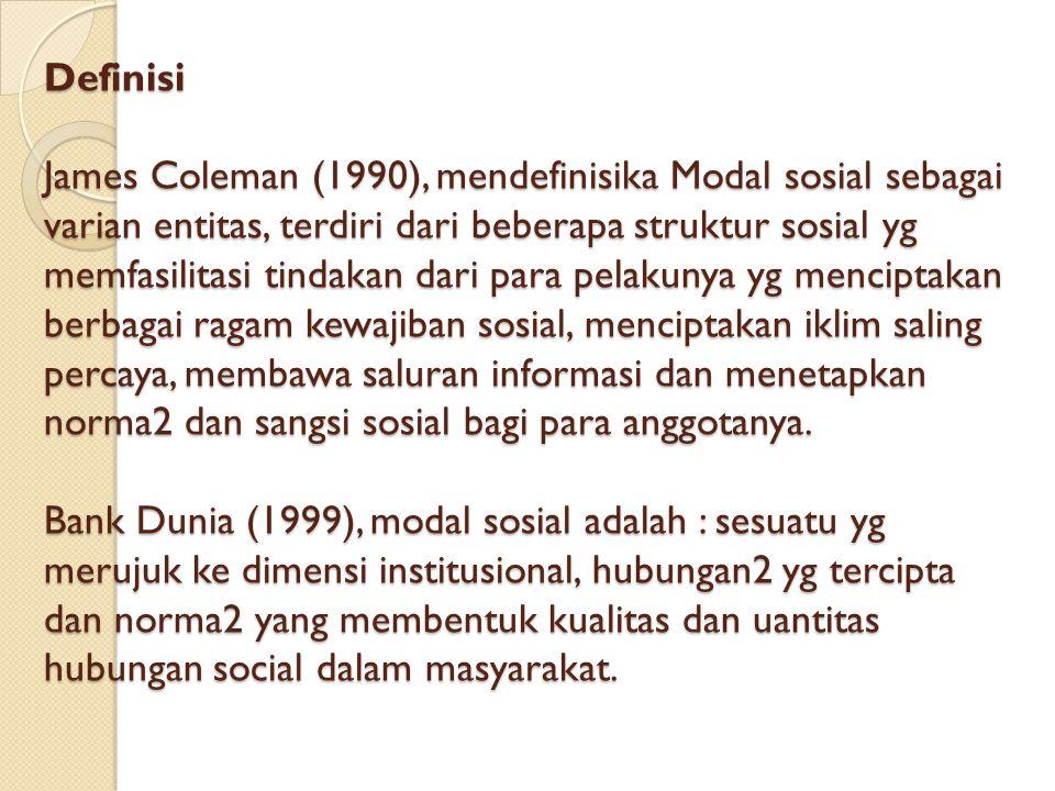 Definisi James Coleman (1990), mendefinisika Modal sosial sebagai varian entitas, terdiri dari beberapa struktur sosial yg memfasilitasi tindakan dari para pelakunya yg menciptakan berbagai ragam kewajiban sosial, menciptakan iklim saling percaya, membawa saluran informasi dan menetapkan norma2 dan sangsi sosial bagi para anggotanya.